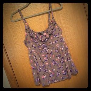 Floral torrid ruffle babydoll cami purple grey 0